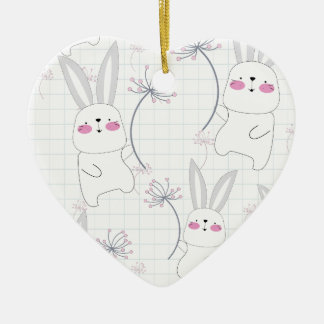 Lovely cute rabbit bunny blue grey pattern ceramic ornament