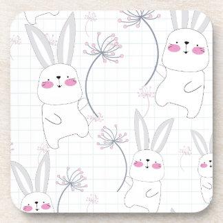 Lovely cute rabbit bunny blue grey pattern coaster