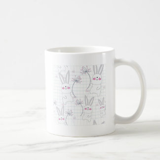 Lovely cute rabbit bunny blue grey pattern coffee mug
