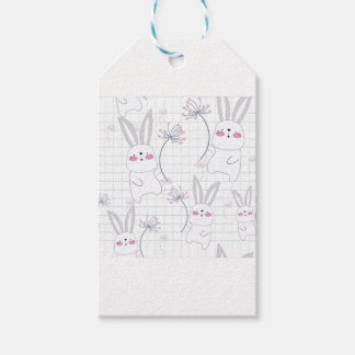 Lovely cute rabbit bunny blue grey pattern gift tags