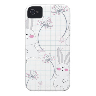 Lovely cute rabbit bunny blue grey pattern iPhone 4 case