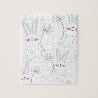 Lovely cute rabbit bunny blue grey pattern jigsaw puzzle