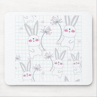 Lovely cute rabbit bunny blue grey pattern mouse pad