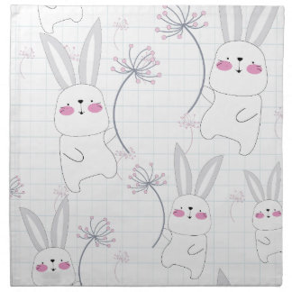 Lovely cute rabbit bunny blue grey pattern napkin