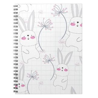 Lovely cute rabbit bunny blue grey pattern notebook
