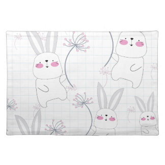 Lovely cute rabbit bunny blue grey pattern placemat
