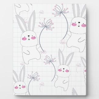 Lovely cute rabbit bunny blue grey pattern plaque