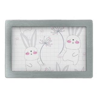 Lovely cute rabbit bunny blue grey pattern rectangular belt buckle