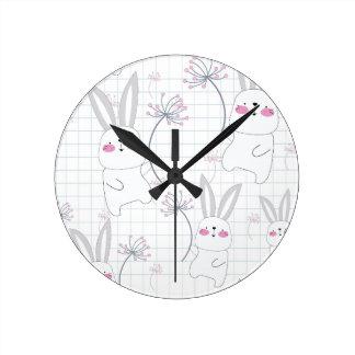 Lovely cute rabbit bunny blue grey pattern round clock