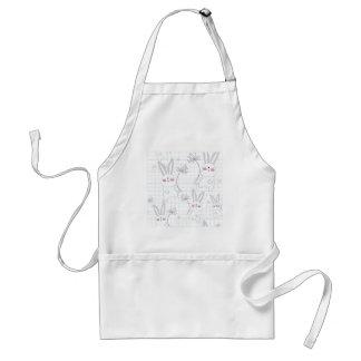 Lovely cute rabbit bunny blue grey pattern standard apron