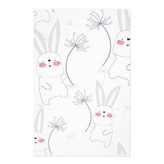 Lovely cute rabbit bunny blue grey pattern stationery