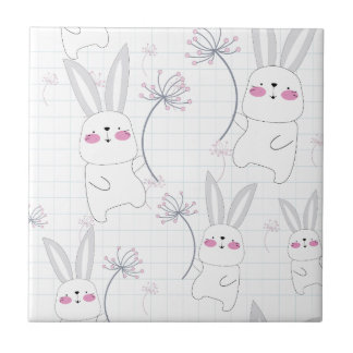 Lovely cute rabbit bunny blue grey pattern tile