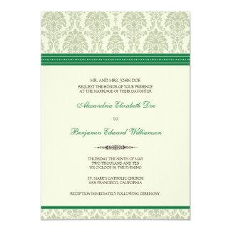 Lovely Damask Wedding Invitation (green/cream)