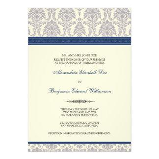 Lovely Damask Wedding Invitation navy cream