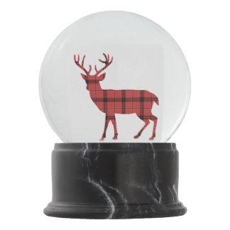 Lovely Deer Silhouette Red and Black Plaid Tartan Snow Globe