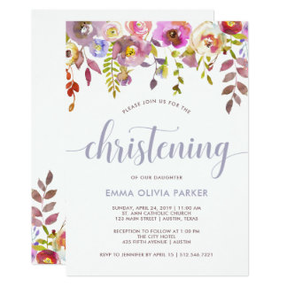 Lovely Delicate Floral | Christening Invitation