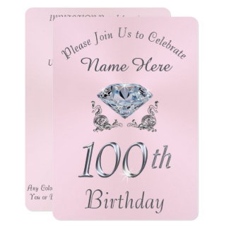 Lovely Diamond 100th Birthday Party Invitations