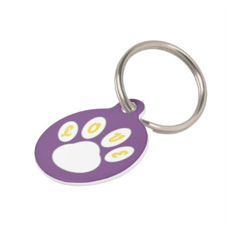 Lovely Dog Tag Paw design (Purple) *Customizable*