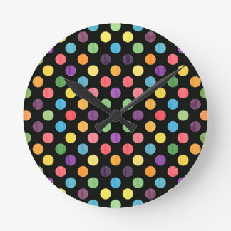 Lovely Dots Pattern IX Round Clock