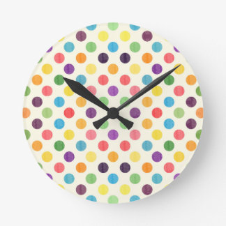 Lovely Dots Pattern VII Round Clock