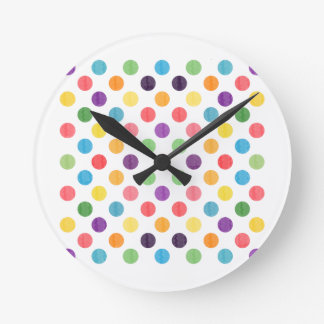 Lovely Dots Pattern VIII Round Clock
