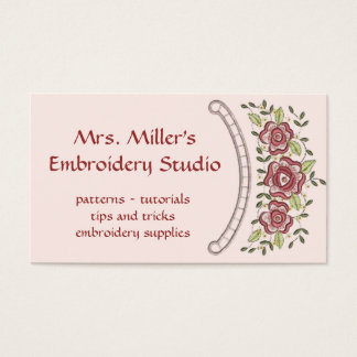 Lovely Embroidered Flowers Embroidery Pattern Business Card