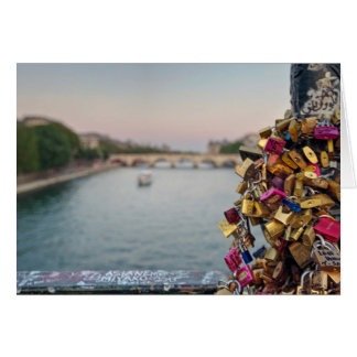 Lovely Evening Sky in Paris with Love Locks Card
