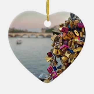 Lovely Evening Sky in Paris with Love Locks Christmas Tree Ornaments