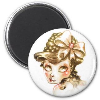 Lovely face 6 cm round magnet