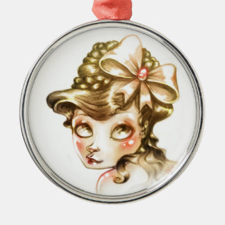 Lovely face Silver-Colored round decoration