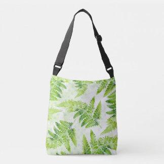 Lovely Fern Leaves Modern Botanical Watercolor Crossbody Bag