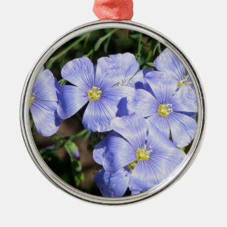 LOVELY FLAX FLORAL ROUND METAL CHRISTMAS ORNAMENT