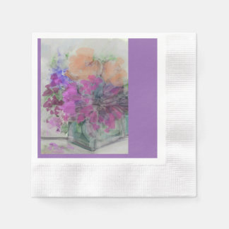 """Lovely Floral Cocktail Napkins"" Disposable Napkin"