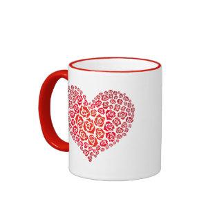 Lovely Floral Rose Love Heart Shape Pattern Ringer Mug