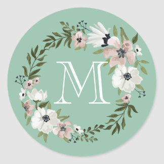 Lovely Floral Round Sticker - mint