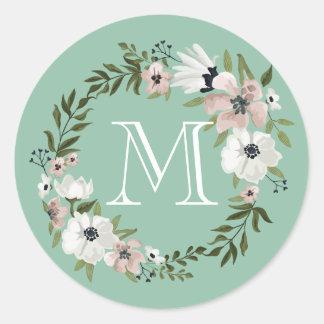 Lovely Floral Round Sticker - mint