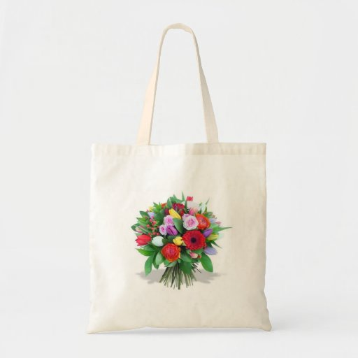 Lovely Flowers Bouquet - Budget Tote Canvas Bags