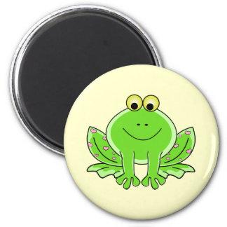 Lovely Frog 6 Cm Round Magnet