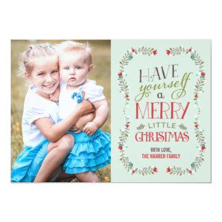 Lovely Garlands Christmas Photo Card - Light Blue 13 Cm X 18 Cm Invitation Card