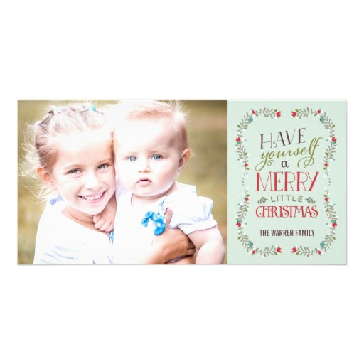 Lovely Garlands Holiday Photo Card - Light Blue Photo Card Template