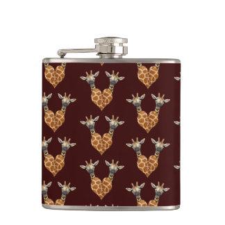 Lovely Giraffes Heart Hip Flask