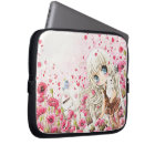 Lovely girl on the pink flowers field laptop sleeve