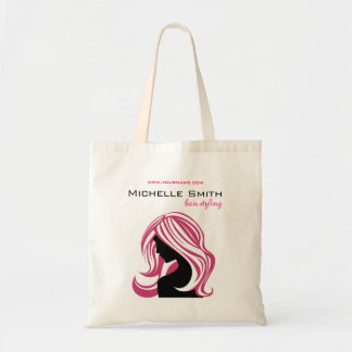 Lovely girl with pink hair Hairstyling branding Budget Tote Bag