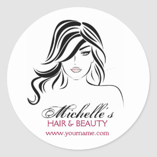 Lovely girl with wavy hair and Makeup Icon Classic Round Sticker