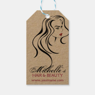 Lovely girl with wavy hair and Makeup Icon Gift Tags
