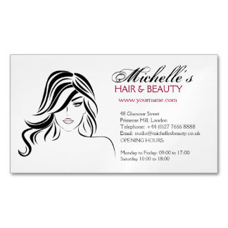 Lovely girl with wavy hair and Makeup Icon Magnetic Business Card