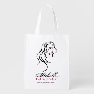 Lovely girl with wavy hair and Makeup Icon Reusable Grocery Bag