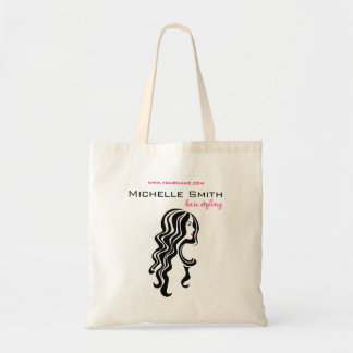 Lovely girl with wavy hair Hairstyling branding Budget Tote Bag