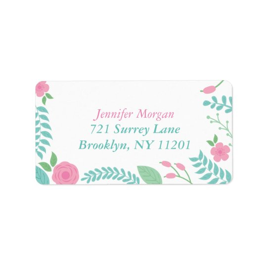 Lovely Girly Floral Pink Mint Teal Green Custom Address Label