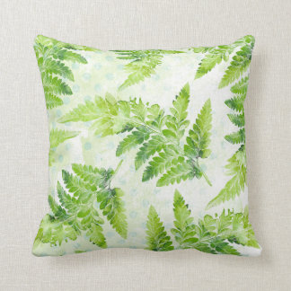 Lovely Green Fern Botanical Watercolor Pattern Cushion